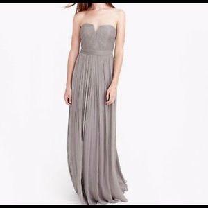 NWT J.Crew Gray Nadia Silk Long Dress size 8